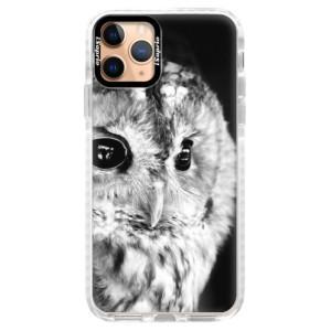 Silikonové pouzdro Bumper iSaprio - BW Owl na mobil Apple iPhone 11 Pro