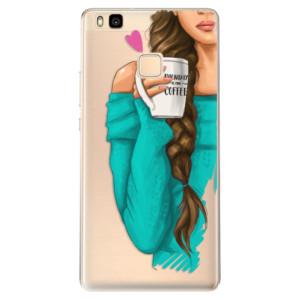 Odolné silikonové pouzdro iSaprio - My Coffe and Brunette Girl na mobil Huawei P9 Lite