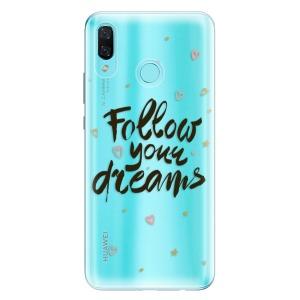 Odolné silikonové pouzdro iSaprio - Follow Your Dreams - black na mobil Huawei Nova 3