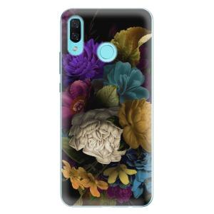 Odolné silikonové pouzdro iSaprio - Dark Flowers na mobil Huawei Nova 3