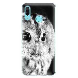 Odolné silikonové pouzdro iSaprio - BW Owl na mobil Huawei Nova 3
