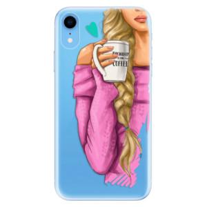 Odolné silikonové pouzdro iSaprio - My Coffe and Blond Girl na mobil Apple iPhone XR