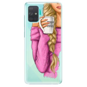 Plastové pouzdro iSaprio - My Coffe and Blond Girl na mobil Samsung Galaxy A71