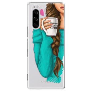 Plastové pouzdro iSaprio - My Coffe and Brunette Girl na mobil Sony Xperia 5
