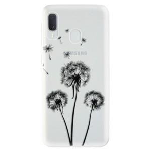 Odolné silikonové pouzdro iSaprio - Three Dandelions - black na mobil Samsung Galaxy A20e