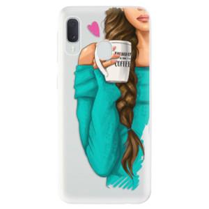 Odolné silikonové pouzdro iSaprio - My Coffe and Brunette Girl na mobil Samsung Galaxy A20e