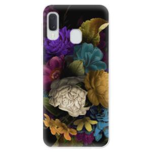 Odolné silikonové pouzdro iSaprio - Dark Flowers na mobil Samsung Galaxy A20e