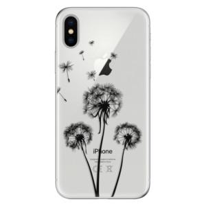 Odolné silikonové pouzdro iSaprio - Three Dandelions - black na mobil Apple iPhone X