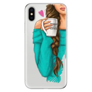 Odolné silikonové pouzdro iSaprio - My Coffe and Brunette Girl na mobil Apple iPhone X