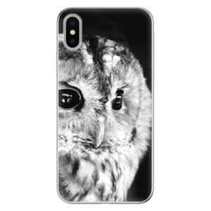 Odolné silikonové pouzdro iSaprio - BW Owl na mobil Apple iPhone X