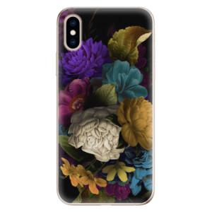 Odolné silikonové pouzdro iSaprio - Dark Flowers na mobil Apple iPhone XS
