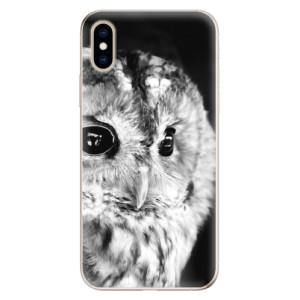 Odolné silikonové pouzdro iSaprio - BW Owl na mobil Apple iPhone XS