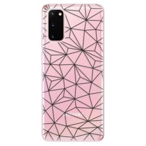 Odolné silikonové pouzdro iSaprio - Abstract Triangles 03 - black na mobil Samsung Galaxy S20 - výprodej