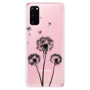Odolné silikonové pouzdro iSaprio - Three Dandelions - black na mobil Samsung Galaxy S20
