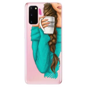 Odolné silikonové pouzdro iSaprio - My Coffe and Brunette Girl na mobil Samsung Galaxy S20