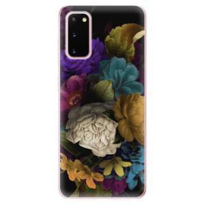 Odolné silikonové pouzdro iSaprio - Dark Flowers na mobil Samsung Galaxy S20
