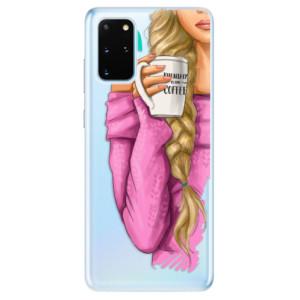 Odolné silikonové pouzdro iSaprio - My Coffe and Blond Girl na mobil Samsung Galaxy S20 Plus