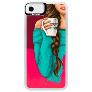Neonové pouzdro Pink iSaprio - My Coffe and Brunette Girl - na mobil Apple iPhone SE 2020