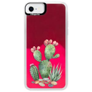 Neonové pouzdro Pink iSaprio - Cacti 01 - na mobil Apple iPhone SE 2020