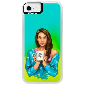 Neonové pouzdro Blue iSaprio - Coffe Now - Brunette - na mobil Apple iPhone SE 2020