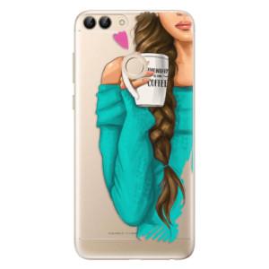 Odolné silikonové pouzdro iSaprio - My Coffe and Brunette Girl na mobil Huawei P Smart