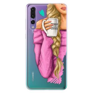 Odolné silikonové pouzdro iSaprio - My Coffe and Blond Girl na mobil Huawei P20 Pro
