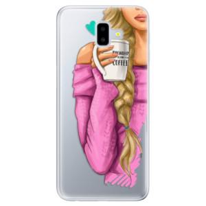 Odolné silikonové pouzdro iSaprio - My Coffe and Blond Girl na mobil Samsung Galaxy J6 Plus