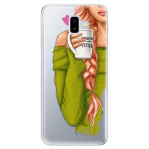 Odolné silikonové pouzdro iSaprio - My Coffe and Redhead Girl na mobil Samsung Galaxy J6 Plus