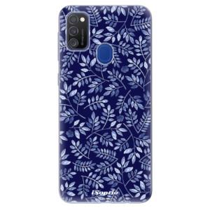 Odolné silikonové pouzdro iSaprio - Blue Leaves 05 na mobil Samsung Galaxy M21