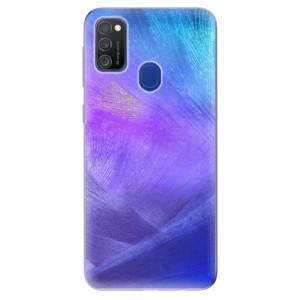 Odolné silikonové pouzdro iSaprio - Purple Feathers na mobil Samsung Galaxy M21 - rozbaleno