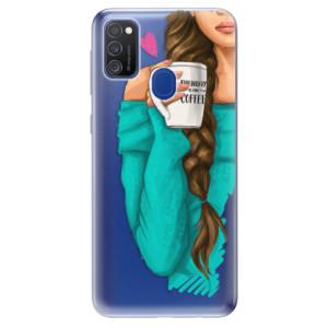 Odolné silikonové pouzdro iSaprio - My Coffe and Brunette Girl na mobil Samsung Galaxy M21