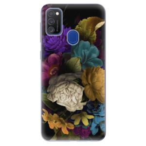 Odolné silikonové pouzdro iSaprio - Dark Flowers na mobil Samsung Galaxy M21