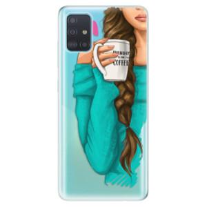 Odolné silikonové pouzdro iSaprio - My Coffe and Brunette Girl na mobil Samsung Galaxy A51