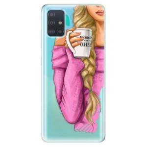 Odolné silikonové pouzdro iSaprio - My Coffe and Blond Girl na mobil Samsung Galaxy A51