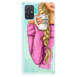 Odolné silikonové pouzdro iSaprio - My Coffe and Blond Girl na mobil Samsung Galaxy A71