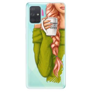 Odolné silikonové pouzdro iSaprio - My Coffe and Redhead Girl na mobil Samsung Galaxy A71