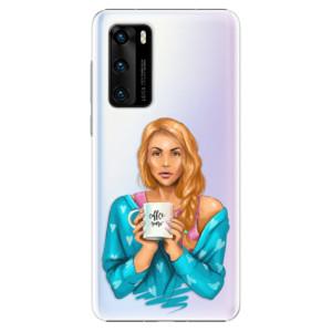 Plastové pouzdro iSaprio - Coffe Now - Redhead - na mobil Huawei P40