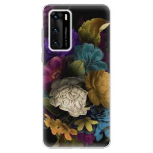Plastové pouzdro iSaprio - Dark Flowers - na mobil Huawei P40