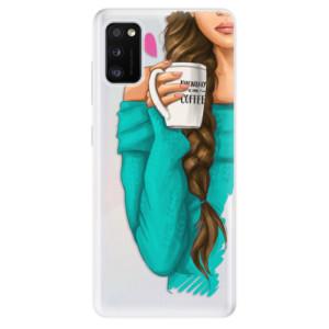 Odolné silikonové pouzdro iSaprio - My Coffe and Brunette Girl - na mobil Samsung Galaxy A41