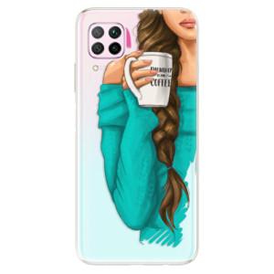 Odolné silikonové pouzdro iSaprio - My Coffe and Brunette Girl - na mobil Huawei P40 Lite