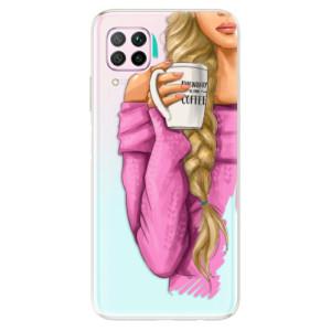 Odolné silikonové pouzdro iSaprio - My Coffe and Blond Girl - na mobil Huawei P40 Lite