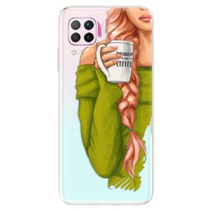 Odolné silikonové pouzdro iSaprio - My Coffe and Redhead Girl - na mobil Huawei P40 Lite