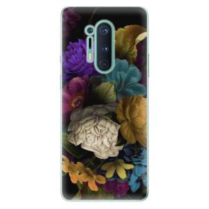 Silikonové pouzdro iSaprio - Dark Flowers na mobil OnePlus 8 Pro