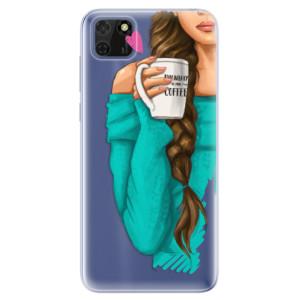 Odolné silikonové pouzdro iSaprio - My Coffe and Brunette Girl na mobil Huawei Y5p / Honor 9S