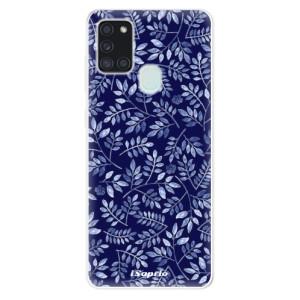 Odolné silikonové pouzdro iSaprio - Blue Leaves 05 na mobil Samsung Galaxy A21s