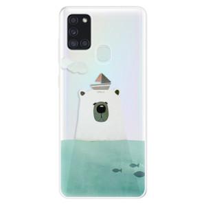 Odolné silikonové pouzdro iSaprio - Bear With Boat na mobil Samsung Galaxy A21s