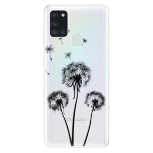 Odolné silikonové pouzdro iSaprio - Three Dandelions - black na mobil Samsung Galaxy A21s