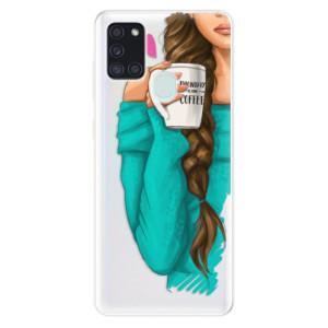 Odolné silikonové pouzdro iSaprio - My Coffe and Brunette Girl na mobil Samsung Galaxy A21s