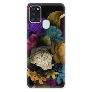 Odolné silikonové pouzdro iSaprio - Dark Flowers na mobil Samsung Galaxy A21s