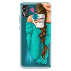 Odolné silikonové pouzdro iSaprio - My Coffe and Brunette Girl na mobil Honor 9X Lite